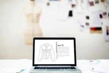 design mockup on laptop with blurred background