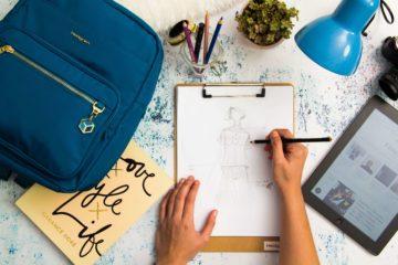 Fashion Designer Sketching, bag up close